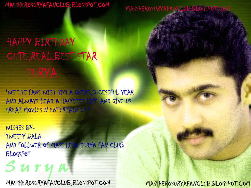 Mass hero surya fan and social club july 2010 happy birthday surya thecheapjerseys Image collections