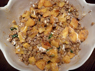The Lovely Prelude: Spicy Squash Salad with Lentils and Goat Cheese