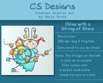 Chloe String of Stars Faerie diital stamp