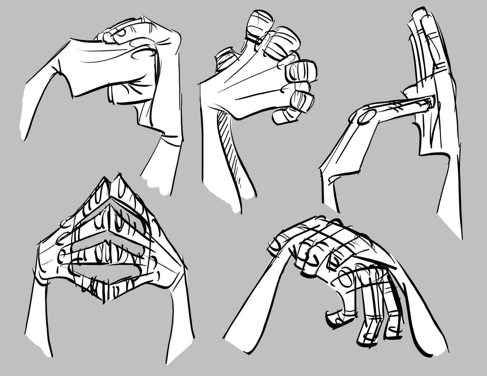 Dibujar las manos juntas, agrupadas, interactuando entre sí