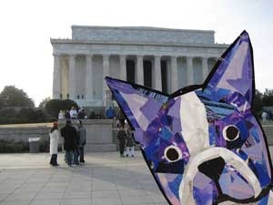 Bosty and the Lincoln Memorial by collage artist Megan Coyle
