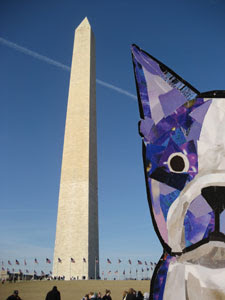 Bosty and the Washington Monument by collage artist Megan Coyle