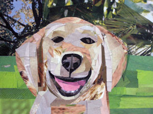 The Smiling Golden Retriever by collage artist Megan Coyle