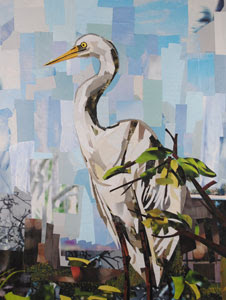 Crane by collage artist Megan Coyle