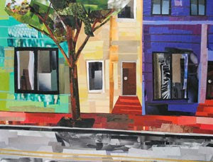 Old Town Townhouses by collage artist Megan Coyle