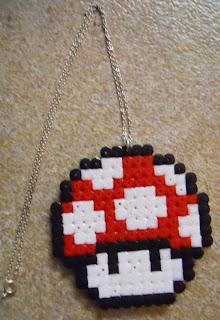 Pixel mushroom necklace