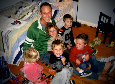 John and all the kids at the Super Bowl party