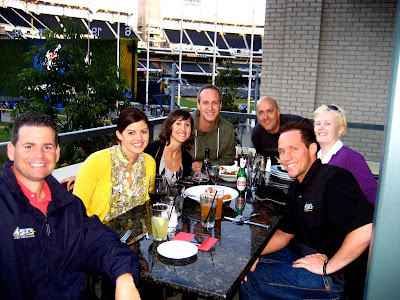 Channel 4 crew at dinner