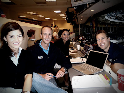 John Weisbarth, Bob Scanlan, Jenny Cavnar, Alanna Rizzo sitting in the press box at PETCO park