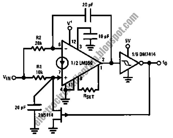 electro circuit diagram  lm359 voltage controlled oscillator circuit
