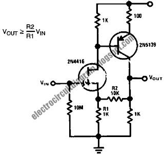 Electro circuit diagram low capacitance high impedance amplifier