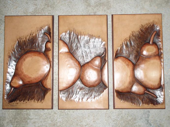 Triptico de Peras tallado en madera