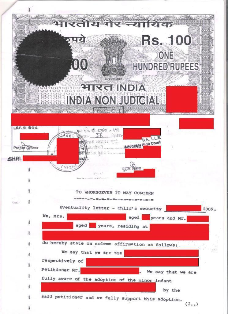 Adopting a child from mumbai a guide for non resident indians 21 the letter has to be typed on a rs 100 non judicial stamp paper and notarized by a public notary spiritdancerdesigns Images