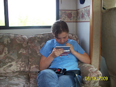 Suzanne in the RV as we ride
