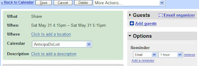 Google calendar event with reminder