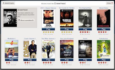 Netflix recommendations window suggesting that 'Meatballs 4' and season one of 'Coach' are similar to 'Eraserhead'