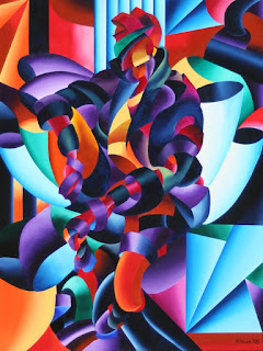 Mark Webster Artist - Abstract Geometric Futurist Figurative Oil Painting