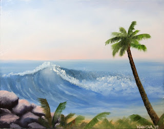 Hawaiian Coast Wave and Palm Tree Oil Painting - Daily Painting Blog - Original Oil and Acrylic Artwork by Artist Mark Webster
