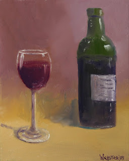 Bottle of Wine Painting - Daily Painting Blog - Original Oil and Acrylic Artwork by Artist Mark Webster