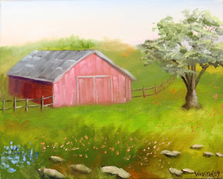 Barn with Oak Tree Painting - Daily Painting Blog - Original Oil and Acrylic Artwork by Artist Mark Webster
