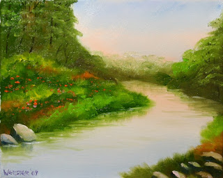 Bend in the River at Sunset Painting - Daily Painting Blog - Original Oil and Acrylic Artwork by Artist Mark Webster