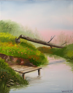 Fallen Tree and Dock on the River at Sunset Painting - Daily Painting Blog - Original Oil and Acrylic Artwork by Artist Mark Webster