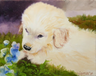 Golden Retriever Puppy with Flowers - Daily Painting Blog - Original Oil and Acrylic Artwork by Artist Mark Webster