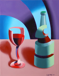 Futurist Abstract Glass of Wine Painting - Daily Painting Blog Original Oil and Acrylic by Artist Mark Webster