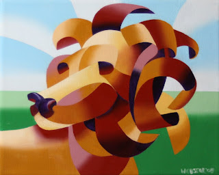 Daily Painters, Daily Paintings, Futurist Lion in the Savannah Painting - Daily Painting Blog - Original Oil and Acrylic Artwork by Artist Mark Webster