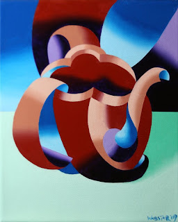 Daily Painters, Daily Paintings, Futurist Abstract Teapot Painting - Daily Painting Blog Original Oil and Acrylic by Artist Mark Webster
