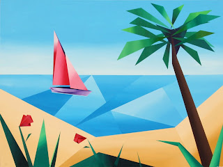 Abstract Sailboat off the Coast of Hawaii (with Palm Tree and Flowers) - Daily Painters Blog - Original Oil and Acrylic by Artist Mark Webster