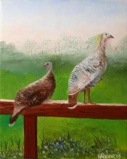 Wild Turkeys in the Foothills Painting - Daily Painter - Original Oil and Acrylic Art - Painting a Day by California Artist Mark A. Webster