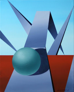 Daily Painters - Abstract Sphere Track #1 - Daily Painter - Original Oil and Acrylic Art - Painting a Day by California Artist Mark A. Webster
