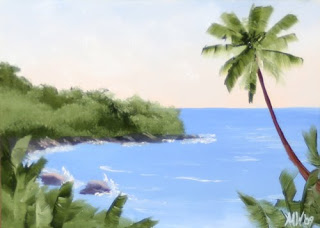 Daily Painter - Hawaiian Coast with Palm Trees #2 - Original Oil and Acrylic Art - Painting a Day by California Artist Mark A. Webster