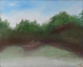 Daily Painter - Gone Fishing Painting - Original Oil and Acrylic Art - Painting a Day by Northern California Artist Mark A. Webster
