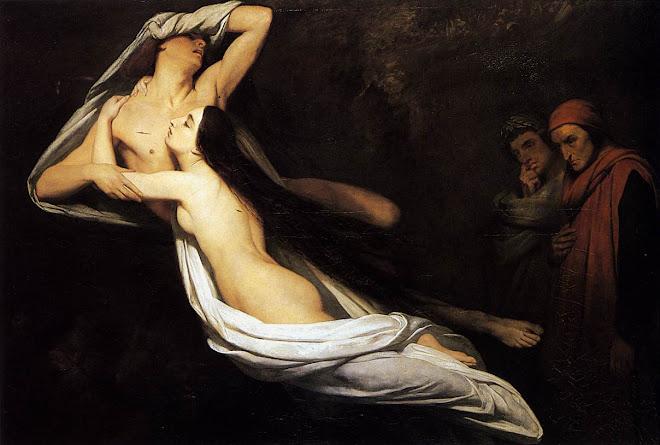Dante y Virgilio contemplan a Paolo y Francesca en el Infierno