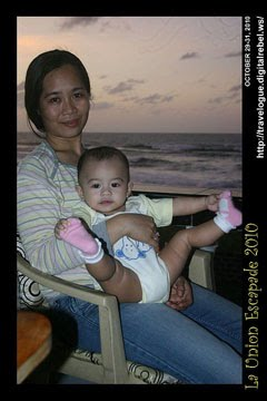 Mama and baby Pam with La Union Sunset