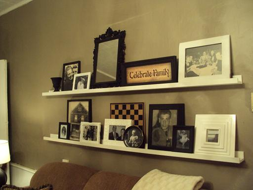 ashley 39 s thrifty living the shelves behind the couch. Black Bedroom Furniture Sets. Home Design Ideas