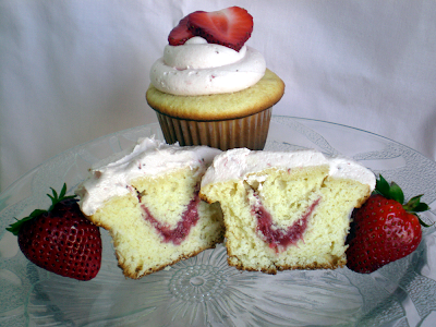 Strawberry filled White Butter Cupcakes - JavaCupcake