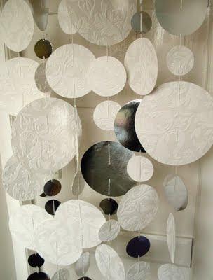 diy snow garland made from wallpaper
