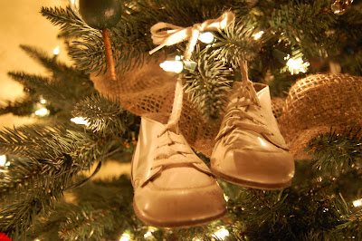 that the shoes would never be worn again too many new cuter shoes for the grandchildren to wear whats a mom to do hang them on the christmas tree - Shoe Christmas Ornaments