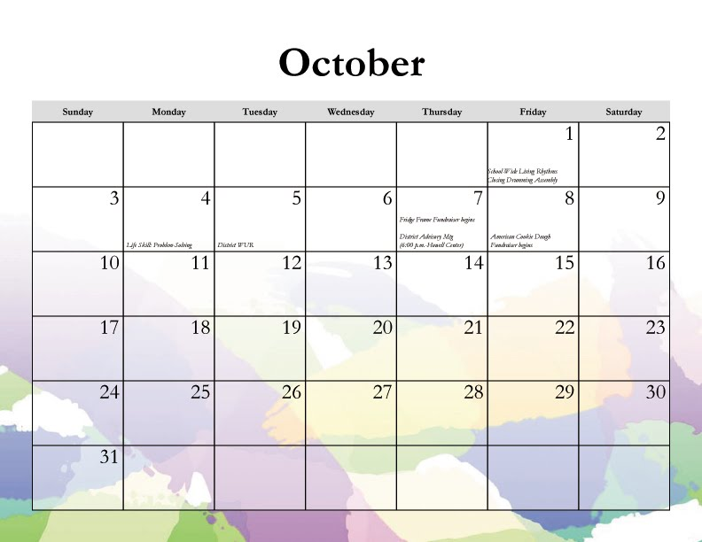 October Calendar Art : From the art dept calendar october