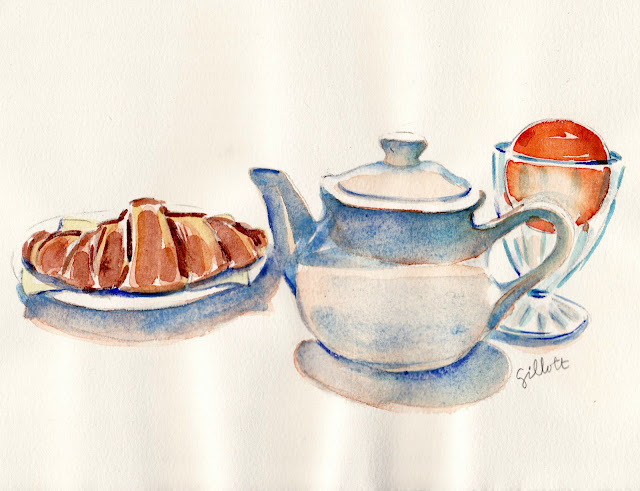 Boulangerie PAUL watercolor - Paris Breakfasts