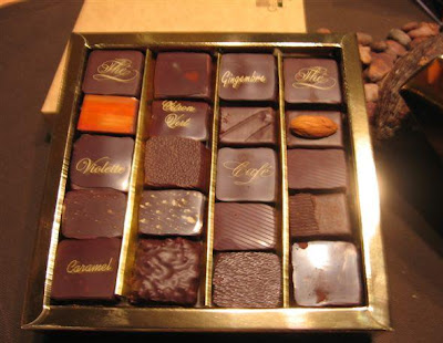 Chcolates with titles at the Paris Salon du Chocolat