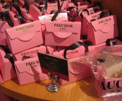 Fauchon mini-pink purse boxes holding 2 chocolates