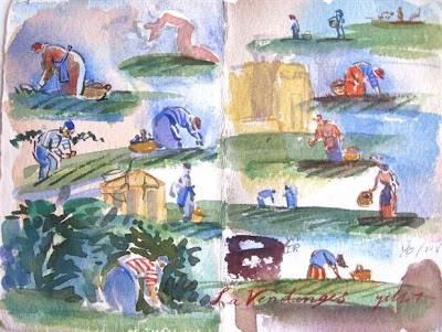 Grape picker watercolor sketches