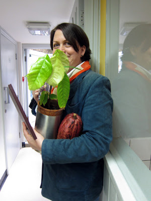 Chantal with Cocoa plant