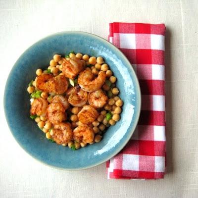 Lemony Chickpeas with Blackened Shrimp