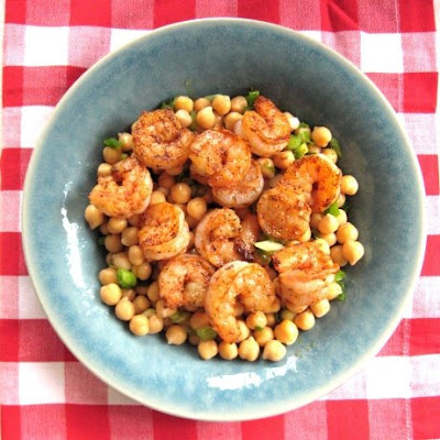 Lemony Chickpeas with Blackened Shrimp