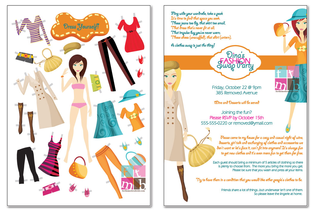 For The Modern Bride - Blog: Dina R. - Custom Swap Party Invitations